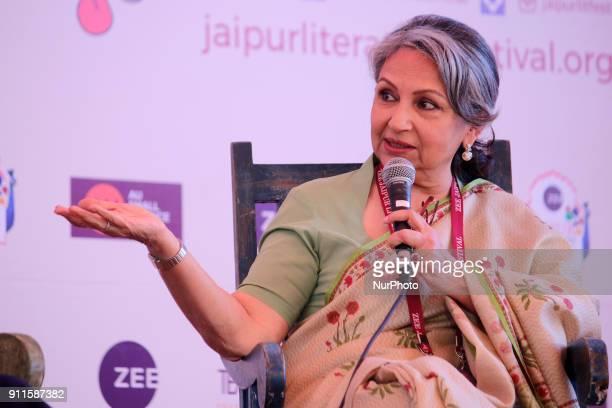 Bollywood actress Sharmila Tagore speaks during the Jaipur Literature Festival 2018 at Diggi Palace in Jaipur Rajasthan India on 28 Jan2018