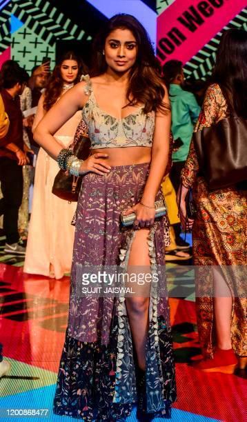 USE Bollywood actress Shriya Saran poses for photographs during Lakme Fashion Week Summer Resort fashion show in Mumbai on February 15 2020 / IMAGE...