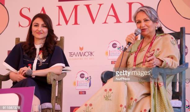 Bollywood actress Soha Ali Khan and Sharmila Tagore speaks during the Jaipur Literature Festival 2018 at Diggi Palace in Jaipur Rajasthan India on 28...