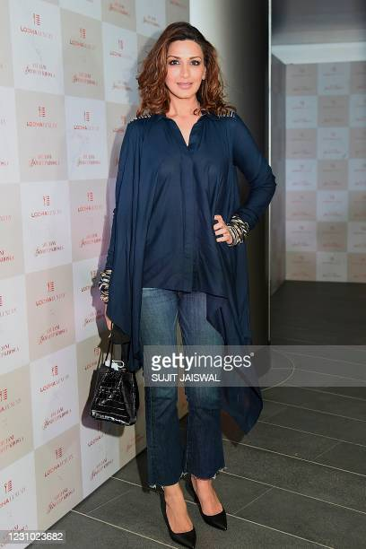 Bollywood actress Sonali Bendre attends an event of Indian fashion designer Abu Jani and Sandeep Khosla in Mumbai on February 7, 2021.