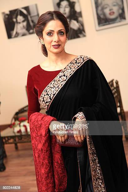 Bollywood actress Sridevi Kapoor during the party hosted by politician Amar Singh at DLF Chhattarpur Farms on December 20 2015 in New Delhi India