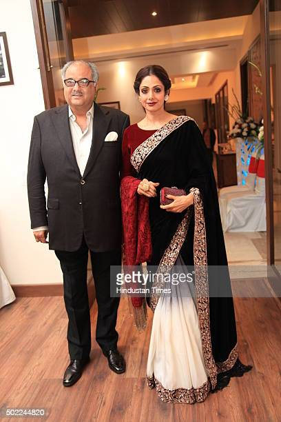 Bollywood actress Sridevi with her film producer husband Boney Kapoor during the party hosted by politician Amar Singh at DLF Chhattarpur Farms on...
