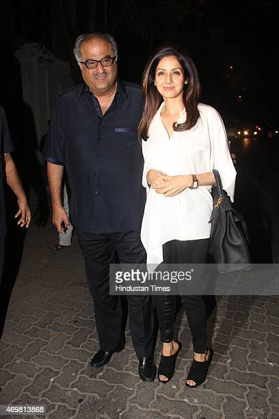 Bollywood actress Sridevi with her husband filmmaker Boney Kapoor arrives for actor Anil Kapoors gettogether to share the trailer of the film Dil...