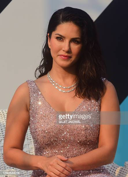 Bollywood actress Sunny Leone looks on from the stage during the launch of People for the Ethical Treatment of Animals newest vegan fashion and...