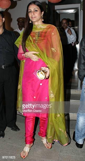 Bollywood actress Tabu arrives to attend the wedding reception for Rashi Agarwal and Hemant Bhanadari at ITC Grand Maratha Sheraton on February 21...