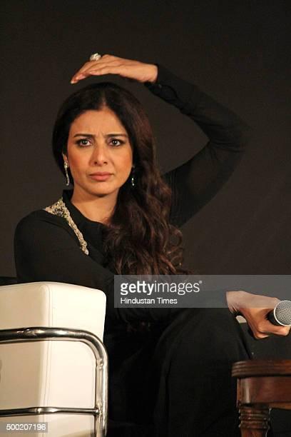 Bollywood actress Tabu during the Royal Stag Barrel Select Perfect Strokes Season 2 at DLF club on December 5 2015 in Gurgaon India
