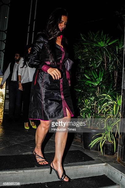 Bollywood actress Tabu who turned 43 during the her birthday bash on November 4 2014 in Mumbai India