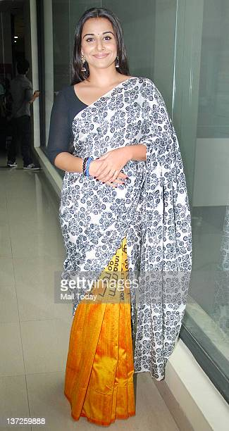 Bollywood actress Vidya Balan arrives at an event held to launch the new jingle of 927 BIG FM