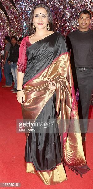 Bollywood actress Vidya Balan arrives at the 18th Colors Screen Awards function in Mumbai on Saturday