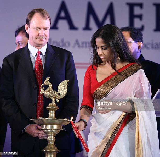 Bollywood actress Vidya Balan with US Consul General Paul A Folmsbee during the launch of ' Namaste America ' an initiative to promote better...