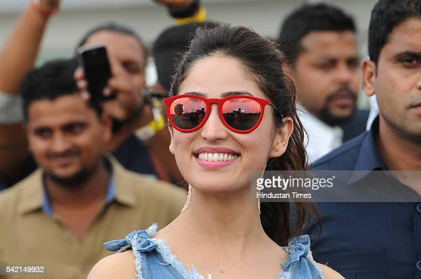 Bollywood actress Yami Gautam during promotion of her upcoming new movie Junooniyat at Appu Ghar on June 22 2016 in Gurgaon India