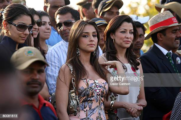 Bollywood actresses Aarti Chhabria and Aditi Govitrikar look on in the crowd during the final round of the 2008 Johnnie Walker Classic held at The...