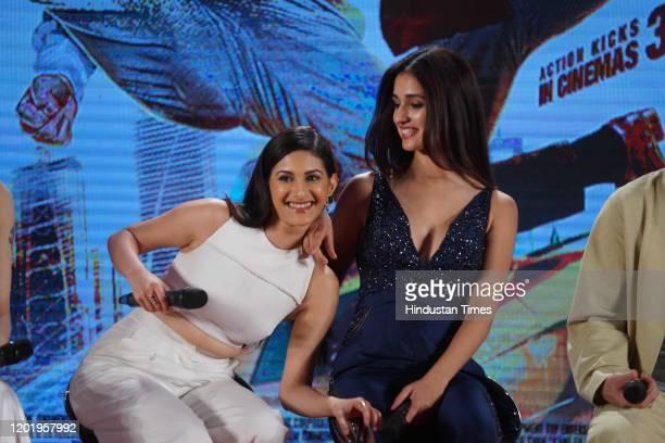 Bollywood actresses Disha Patani and Amyra Dastur , during the promotion of movie 'Kung Fu Yoga', on January 23, 2017 in Mumbai, India.