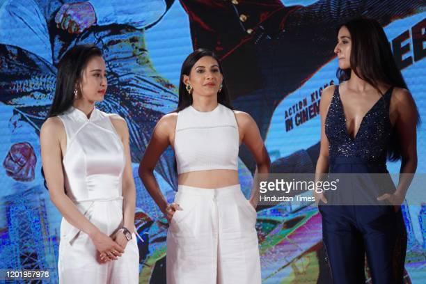 Bollywood actresses Disha Patani and Amyra Dastur with Chinese actress Miya Muqi, during the promotion of movie 'Kung Fu Yoga', on January 23, 2017...