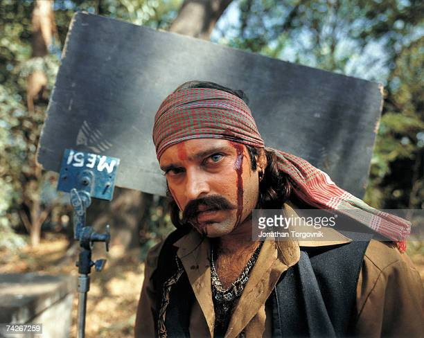 Bollywood character actor playing a villain in studio in Film City Studios January 1997 in Mumbai India