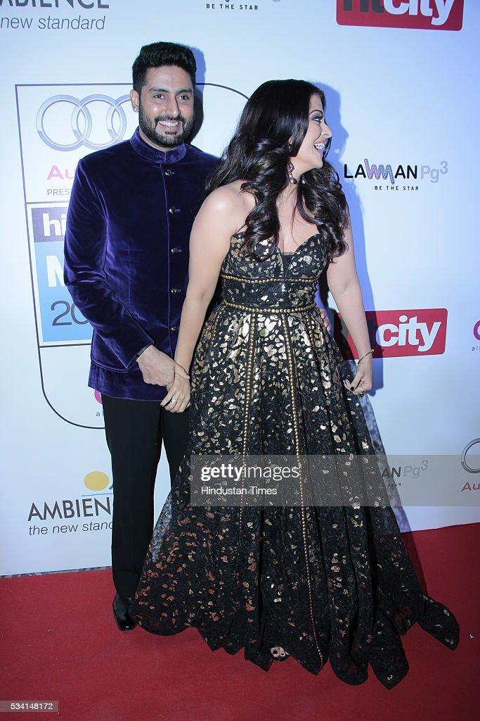 Bollywood couple Aishwarya Rai and Abhishek Bachchan arriving at red carpet of Hindustan Times Most Stylish Awards 2016 at Hotel JW Marriott Aerocity.