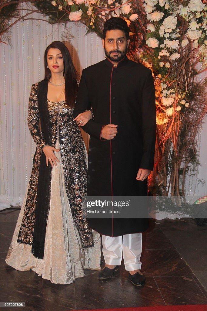 Bollywood couple Aishwarya Rai Bachchan and Abhishek Bachchan at wedding reception of couple Bipasha Basu and Karan Singh on April 30 2016 in Mumbai..