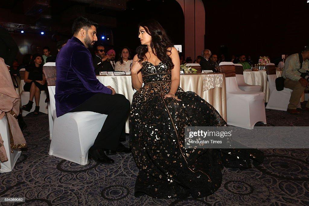 Bollywood couple Aishwarya Rai Bachchan and Abhishek Bachchan at Hindustan Times Most Stylish Awards 2016 at Hotel JW Marriott Aerocity on May 24...