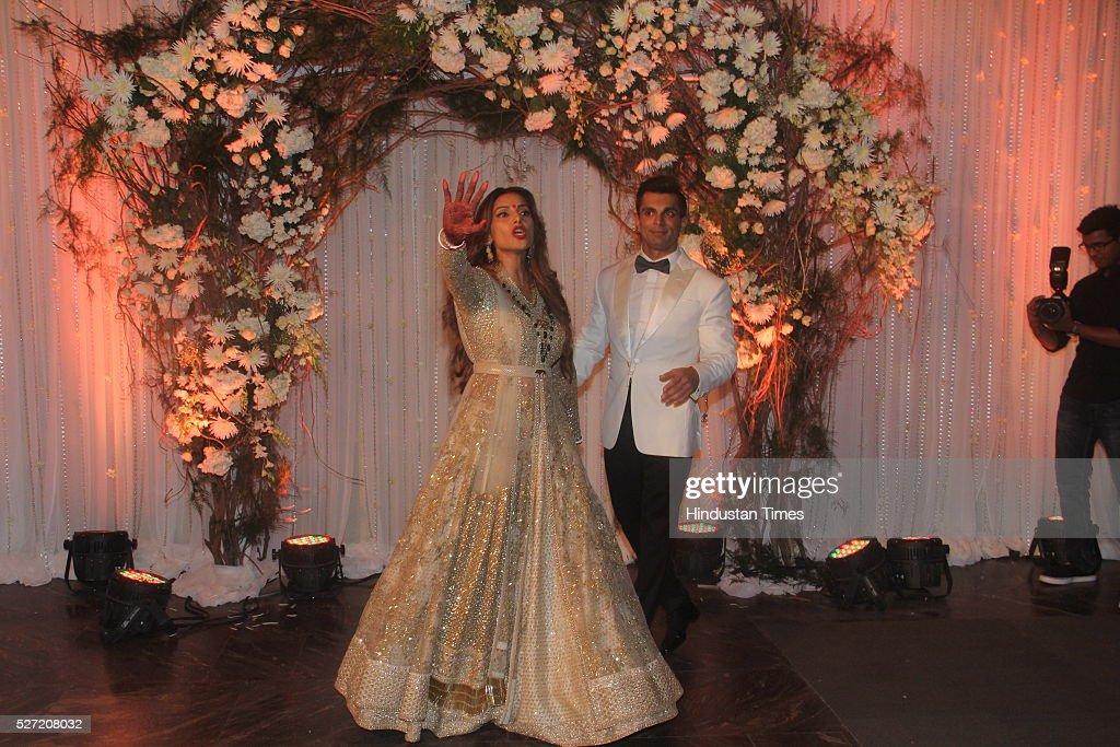 Bollywood couple Bipasha Basu and Karan Singh at their wedding reception on April 30 2016 in Mumbai India Bipasha Basu got married to Karan Singh...