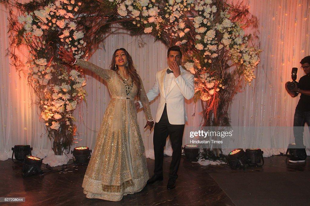 Bollywood couple Bipasha Basu and Karan Singh at wedding reception of couple Bipasha Basu and Karan Singh on April 30 2016 in Mumbai India Bipasha...