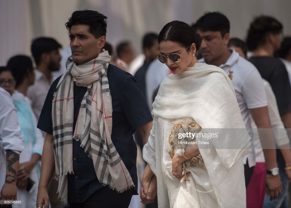 Bollywood designer Manish Malhotra and actor Rekha at celebration club to pay last respect to the late actor Sridevi at Andheri on February 28 2018...