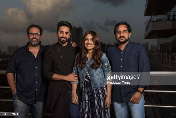 Bollywood director and producer Anand L Rai actors Ayushmann Khurrana Bhumi Pednekar and director RS Prasanna during an exclusive interview with HT...