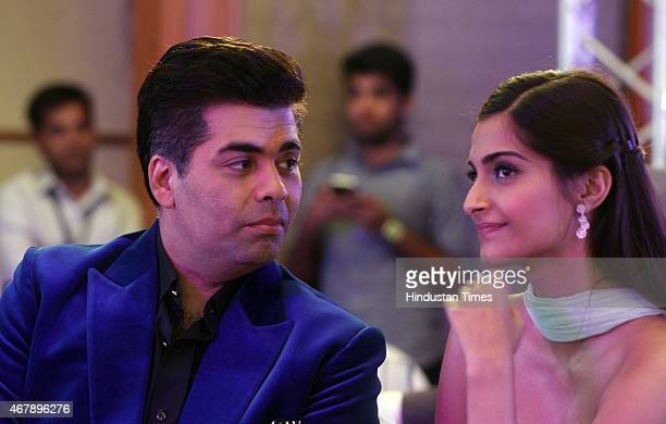 Bollywood director and producer Karan Johar and actor Sonam Kapoor during the Hindustan Times Mumbai's Most Stylish Awards 2015 at JW Mariott Hotel...
