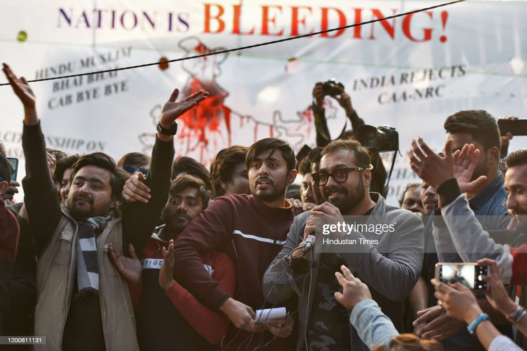 Bollywood Director Anurag Kashyap Joins Ongoing Protest Against CAA And NRC In Delhi : News Photo
