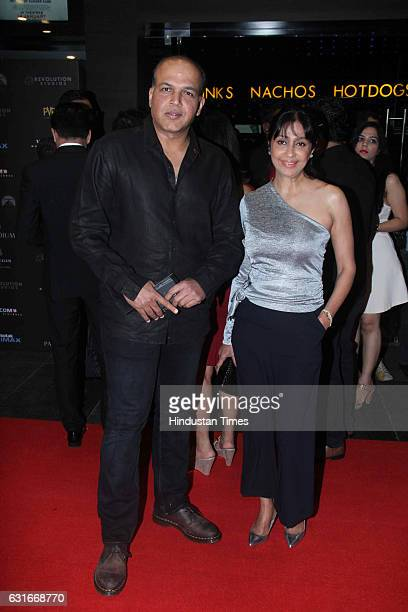 Bollywood director Ashutosh Gowariker with his wife Sunita at the red carpet of premier of 'xXx Return of Xander Cage' movie on January 12 2017 in...