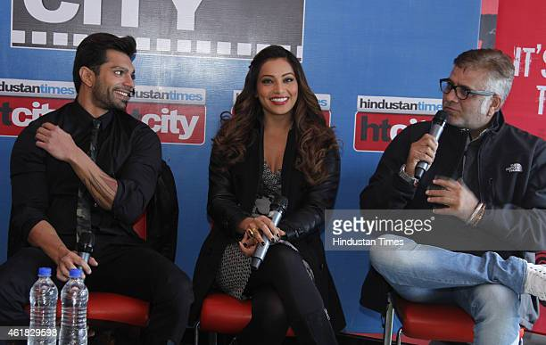 Bollywood director Bhushan Patel and actor Bipasha Basu and Karan Singh Grover during an exclusive interview with HT City Hindustan Times to promote...