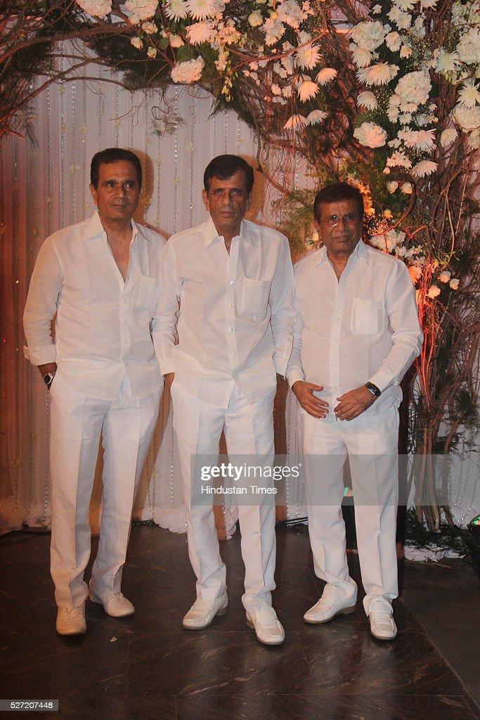 Bollywood director brothers Abbas Mustan and Hussain Burmawalla at wedding reception of couple Bipasha Basu and Karan Singh on April 30 2016 in...