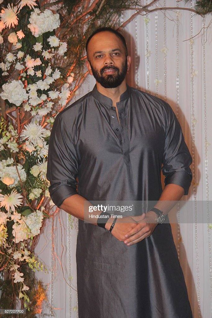 Bollywood director Rohit Shetty at wedding reception of couple Bipasha Basu and Karan Singh on April 30 2016 in Mumbai India Bipasha Basu got married.