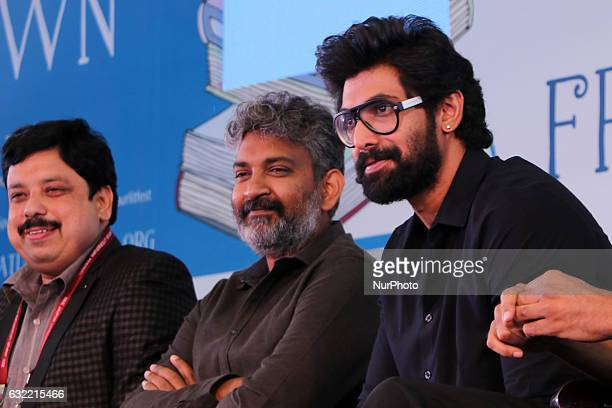 Bollywood Director SS Rajamouli Actor Rana Daggubati and Writer Anand Neelakanthan during the Jaipur Literature Festival at Diggi Palace in Jaipur...