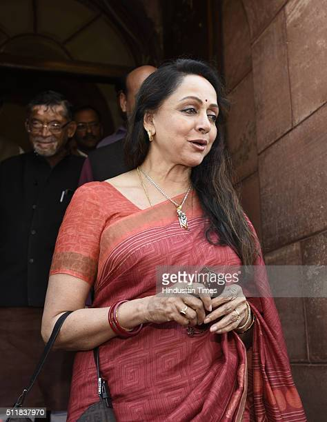 Bollywood Film actress and Mathura Lok Sabha MP Hema Malini during the Parliament Budget Session 2016 at Parliament House on February 23 2016 in New...