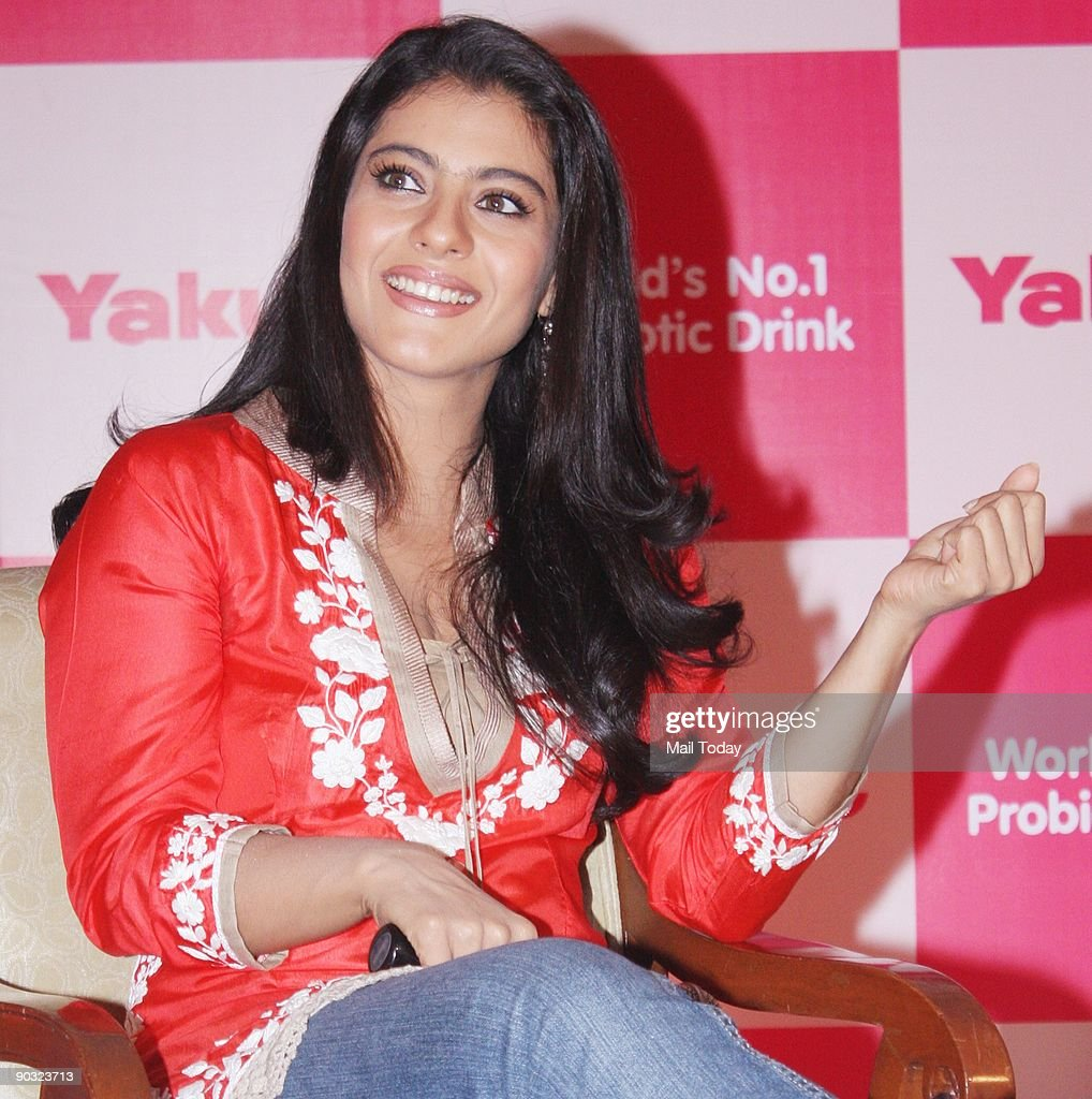 Bollywood film actress Kajol poses at a press conference to unveil the Japanese probiotic drink Yakult for which she is brand ambassador in Mumbai on.