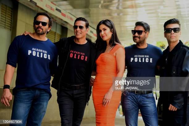 Bollywood film director Rohit Shetty , actors Akshay Kumar , Katrina Kaif , Ajay Devgn and producer Karan Johar pose for pictureS during the trailer...