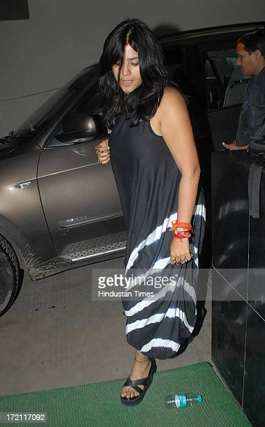 Bollywood film producer Ekta Kapoor during the special screening of film Lootera at Light Box Santracruz on JUNE 30 2013 in Mumbai India Lootera is...
