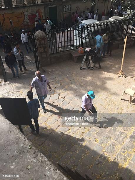 Bollywood filmmaker Boney Kapoor spotted while shooting for upcoming movie 'Mom' at Agrasen Ki Baoli on April 4, 2016 in New Delhi, India. The film,...