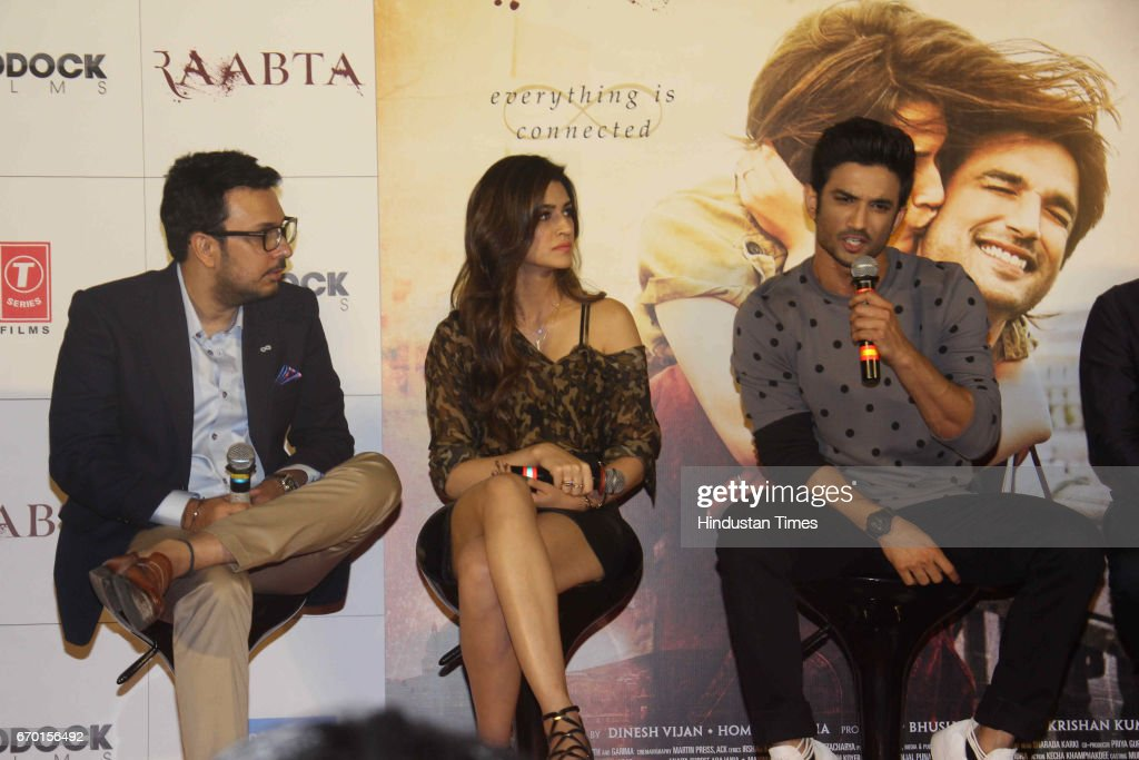 Bollywood filmmaker Dinesh Vijan actors Sushant Singh Rajput and Kriti Sanon during the trailer launch of movie Raabta at PVR Cinema Juhu on April 17.