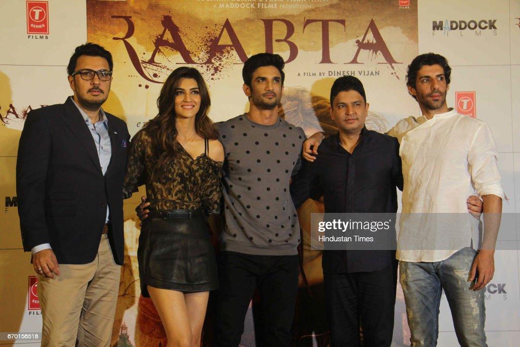 Bollywood filmmaker Dinesh Vijan actors Sushant Singh Rajput Kriti Sanon filmmaker Bhushan Kumar and actor Jim Sarbh during the trailer launch of...