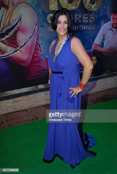 Bollywood filmmaker Ekta Kapoor during the grand success party of movie Ek Villain at Krishna Bunglow Juhu on July 15 2014 in Mumbai India
