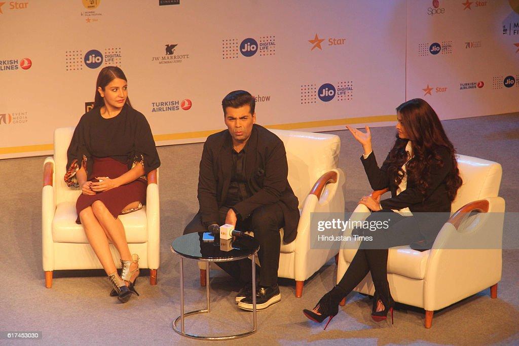 Bollywood Filmmaker Karan Johar along with actors Anushka Sharma and Aishwarya Rai Bachchan during discussion on the upcoming Hindi film `Ae Dil Hai..
