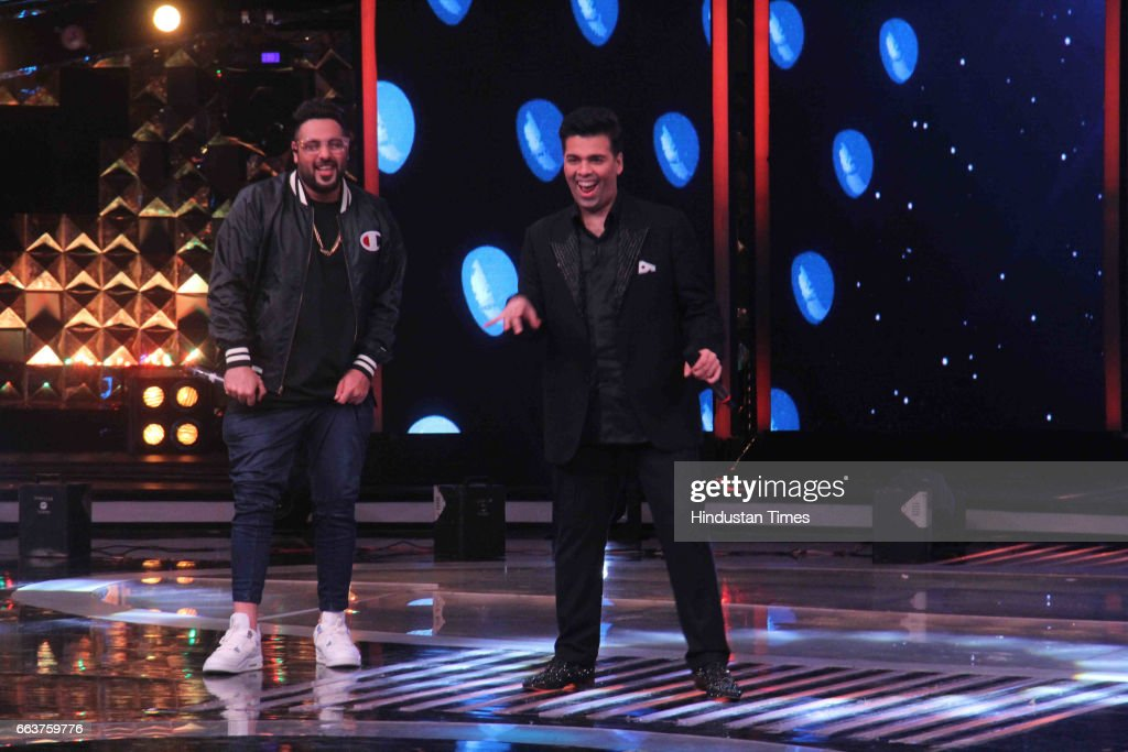 Bollywood filmmaker Karan Johar and singer Badshah during the promotion of film Noor and Nach Baliye integration on the sets of Star Plus singing...
