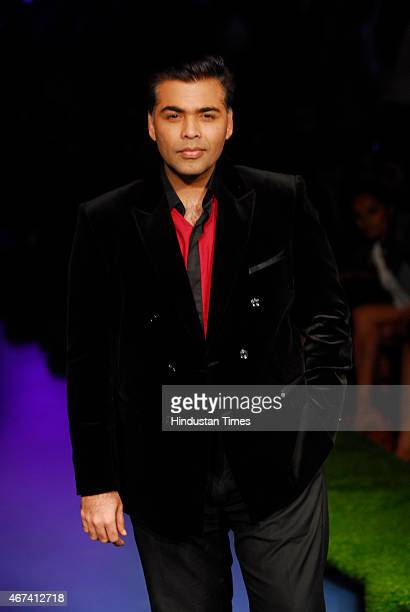 Bollywood filmmaker Karan Johar at Lakme Fashion Week Summer/Resort 2015 on day 3 on March 20 2015 in Mumbai India