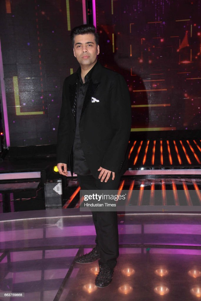 Bollywood filmmaker Karan Johar during the promotion of film Noor and Nach Baliye integration on the sets of Star Plus singing reality show Dil Hai...