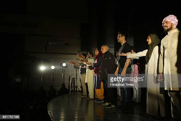 Bollywood filmmaker Mahesh Bhatt at Hansraj College to present Arvind Gaur's play The Last Salute on January 12 2017 in New Delhi India Based on...