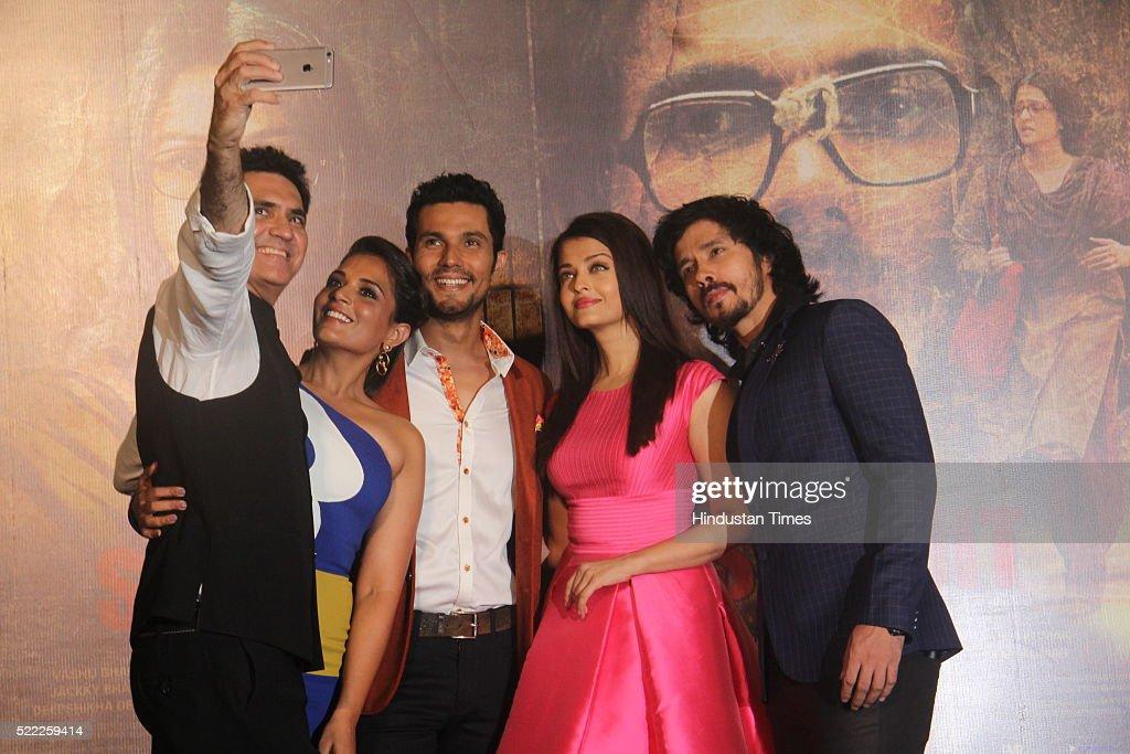 Bollywood filmmaker Omung Kumar taking selfie with actors Richa Chadda Randeep Hooda Aishwarya Rai Bachchan and Darshan Kumaar during the trailer...