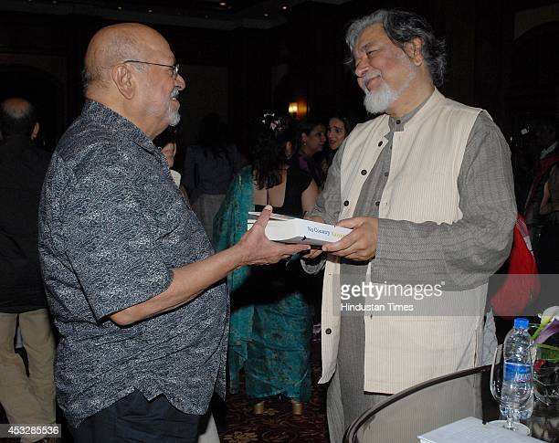Bollywood filmmaker Shyam Benegal with Kalyan Ray during the launch of Kalyan Rays book No Country at Taj Landsend Hotel Bandra on August 5 2014 in...