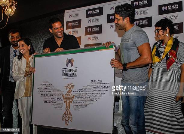 Bollywood filmmakers Farhan Aktar Kiran Rao Vikramaditya Motwane and Anurag Kashyap with film critic Anupama Chopra at the press conference of 16th...