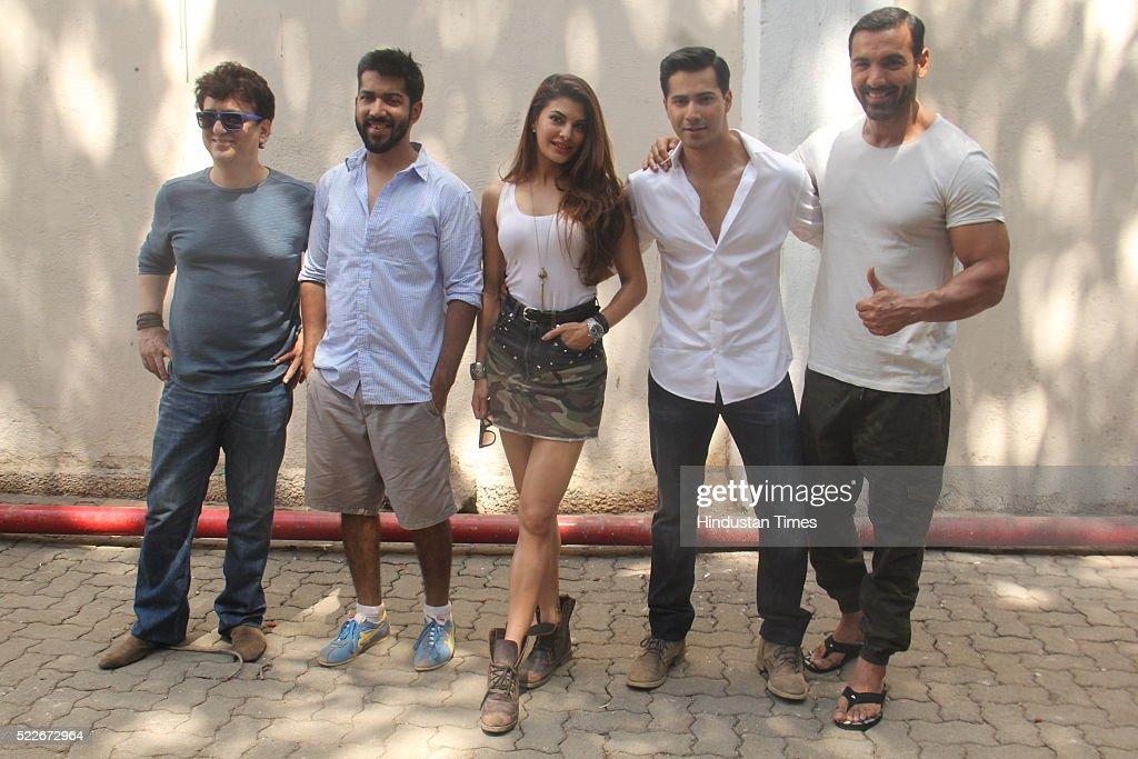 Bollywood filmmakers Sajid Nadiadwala Rohit Dhawan actors Jacqueline Fernandez Varun Dhawan and John Abraham during the wrap up of shooting of film...